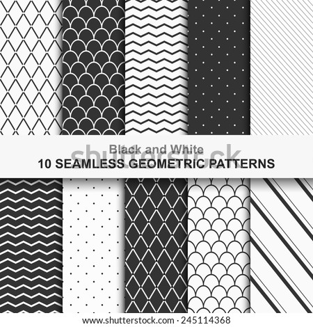 10 Seamless geometric vector patterns, black and white texture - stock vector