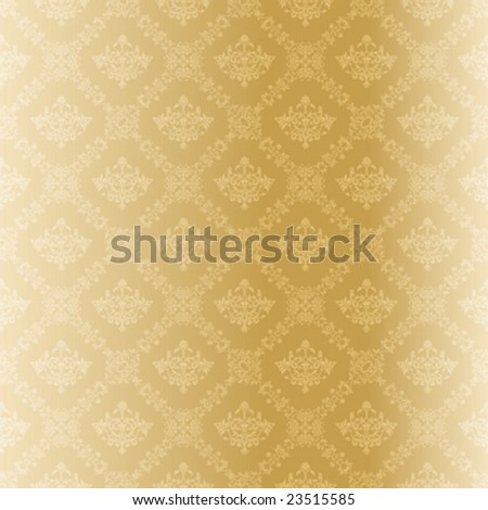 Seamless gold damask pattern (vector); a JPG version is also available - stock vector