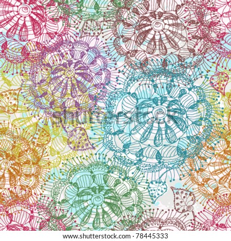 Seamless of abstract hand drawn color flowers - stock vector