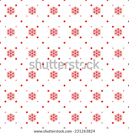 Seamless pattern. Christmas ornament with snowflake and dotted rhombuses. Holiday background - stock vector