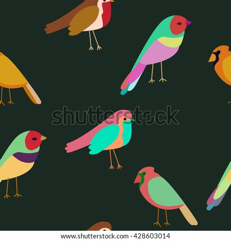 seamless pattern colored birds. Spring birds. Colorful texture - stock vector
