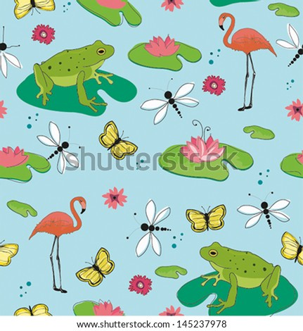 seamless pattern of frogs and flamingo bird - stock vector