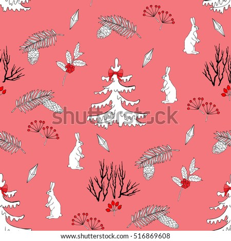 Seamless pattern with Christmas forest. Hand drawn elements with animals  and Christmas decorations. Vector  Illustration