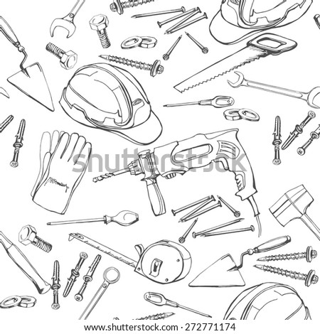 Seamless pattern  with  Construction and repair tools.. Vector illustration.
