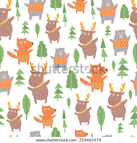 Seamless pattern with cute fox, deer, bear. Lovely forest background with cute animals in bright colors in vector. - stock vector