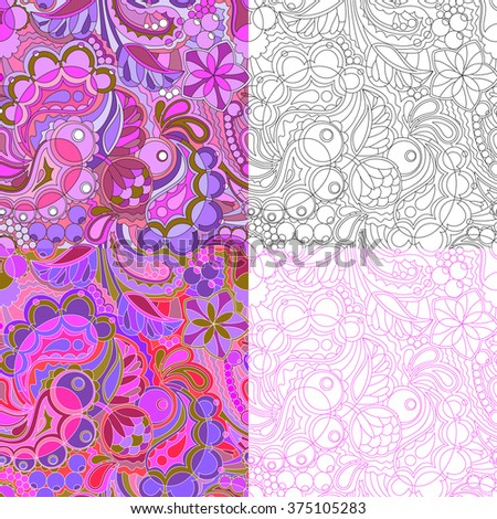 4 seamless pattern with floral ornament