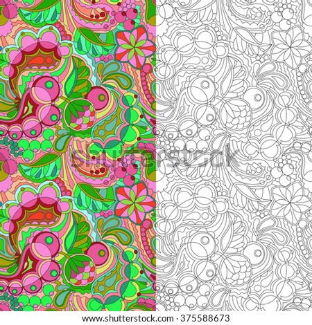 2 seamless pattern with floral ornament