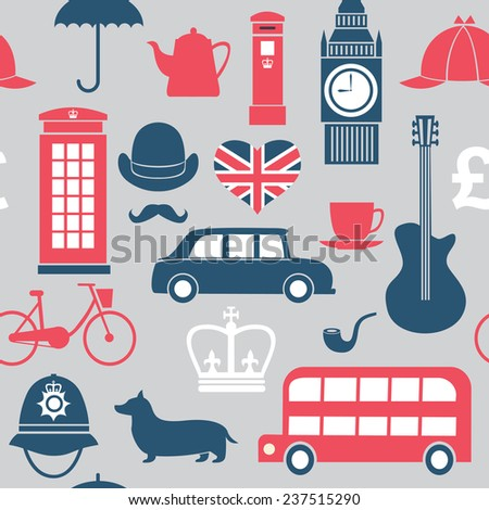 seamless pattern with Great Britain symbols - stock vector