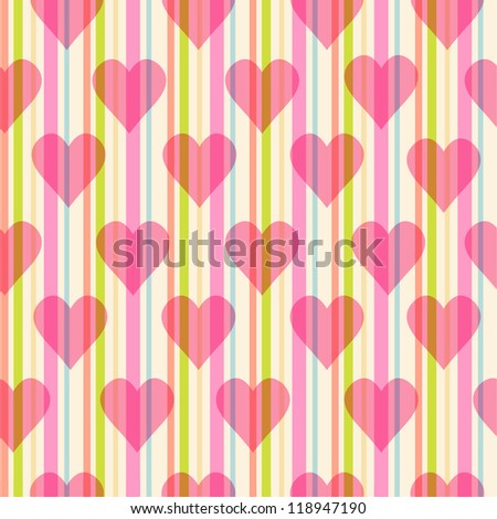 seamless pattern with hearts on striped background - stock vector