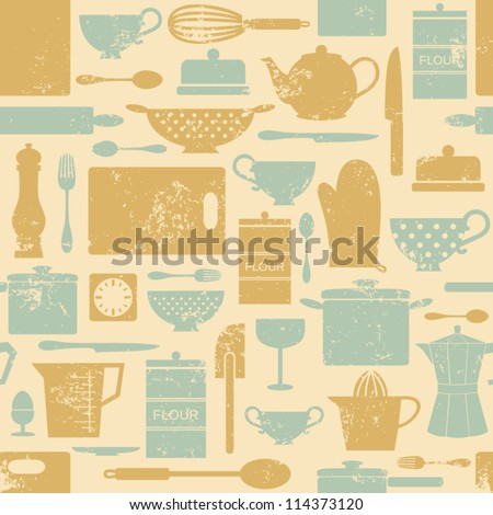 Seamless pattern with kitchen items in vintage style. - stock vector