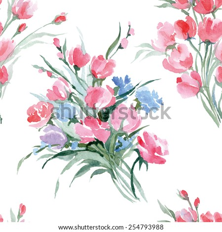 Seamless pattern with Watercolor bouquet of  a wild flowers. Summer background. Vector illustration. - stock vector