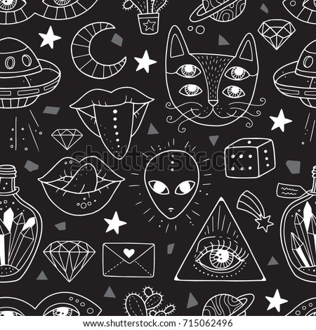 Seamless Pattern With Weird And Freaky Alchemy Symbols Lovely Vector Illustration Design For Fabrics