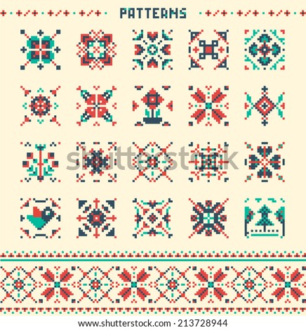 20 seamless patterns, Colourful vector patterns - stock vector