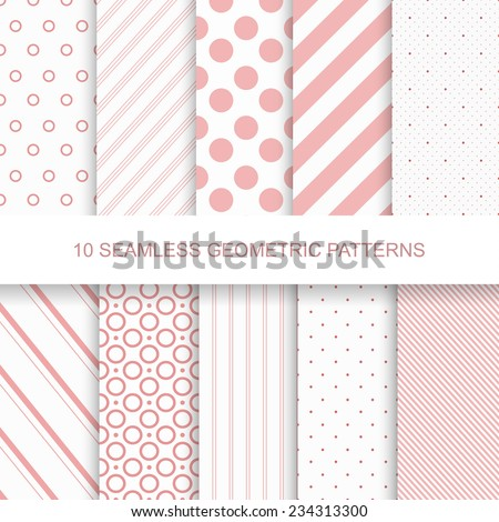 10 Seamless patterns. Stylish modern vector patterns with lines and dots - stock vector