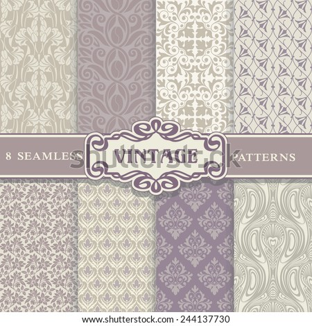 Seamless Patterns. Vintage Set. Texture for wallpaper, background, scrapbook -  lots of useful elements to embellish your layout. - stock vector