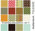 16 seamless retro patterns - set 11 - stock vector