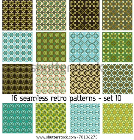 16 seamless retro patterns - set 10 - stock vector