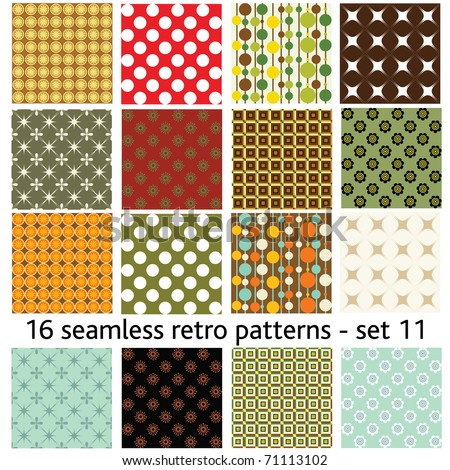16 seamless retro patterns - set 11