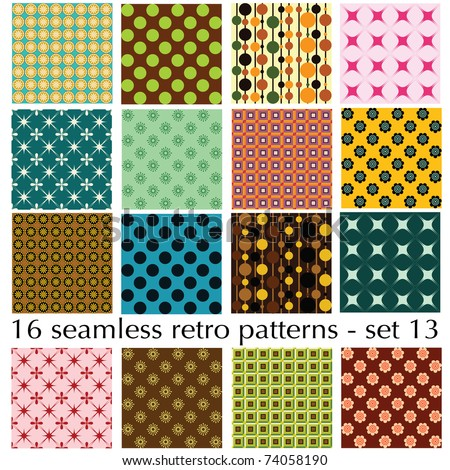 16 seamless retro patterns - set 13 - stock vector