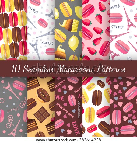 stock vector  seamless romantic patterns with macaroon eiffel tower paris bike lemon strawberry heart 383614258 - Каталог — Фотообои «Еда, фрукты, для кухни»