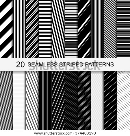 20 seamless striped patterns. Black and white texture. Vector striped collection. - stock vector