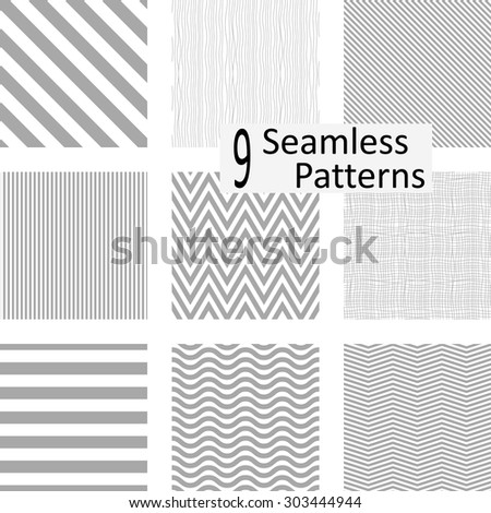 9 Seamless striped patterns. eps10 - stock vector