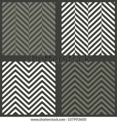 4 seamless swatches with lambdoidal herringbone patterns - stock vector