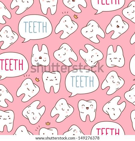 Seamless teeth pattern - stock vector
