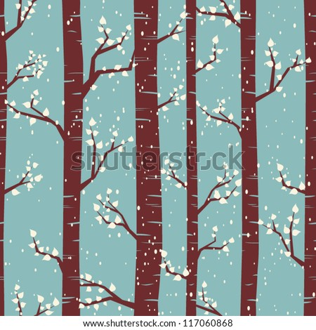Seamless tiling pattern with birches under the snowfall. - stock vector
