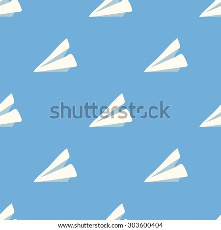 Seamless vector  pattern wit paper plane - stock vector
