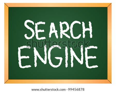 """search engine"" word written on chalkboard - stock vector"