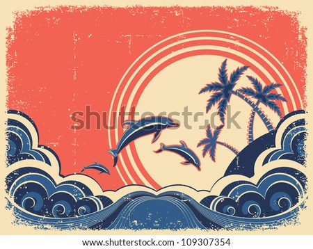 Seascape waves poster with dolphins. Vector grunge illustration on old paper texture - stock vector