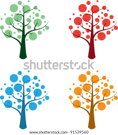 4 seasonal trees - stock vector