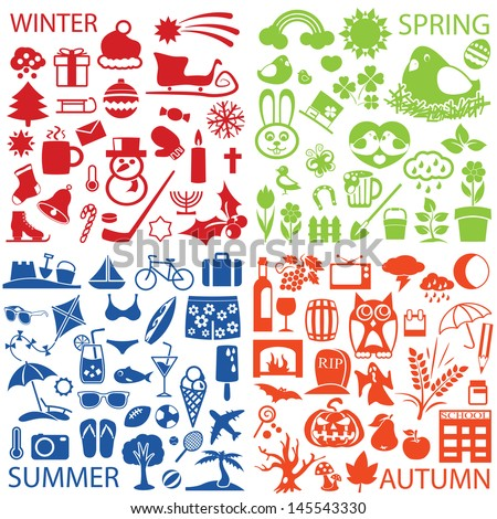 Seasons Symbols And Icons - stock vector