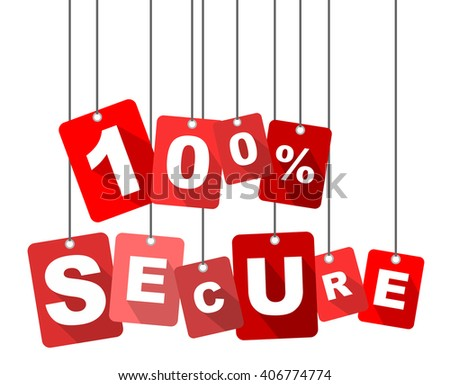 100% secure, red vector 100% secure, flat tag 100% secure, element 100% secure, sign 100% secure, design 100% secure, background 100% secure, illustration 100% secure, picture 100% secure - stock vector