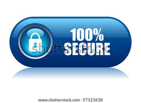 100 secure vector button - stock vector