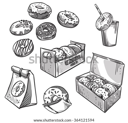 selection of donuts.  takeaway packaging. Fast food. - stock vector