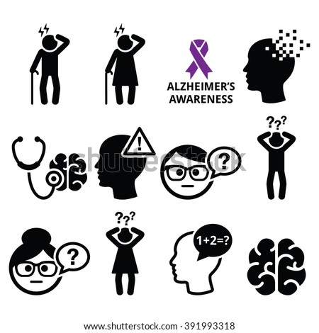 Seniors health - Alzheimer's disease and dementia, memory loss icons set  - stock vector