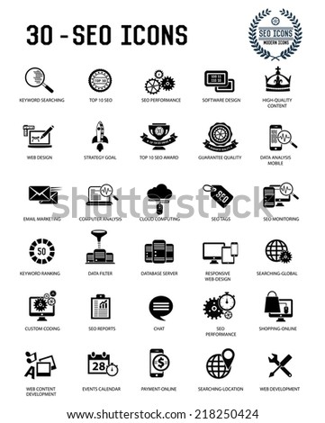 30 SEO and development icon set on white background,black version,clean vector - stock vector