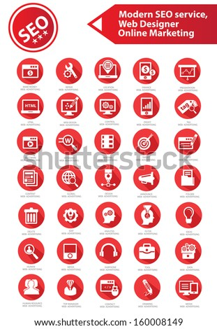 SEO, Development, Internet & Marketing icons,Red version,vector