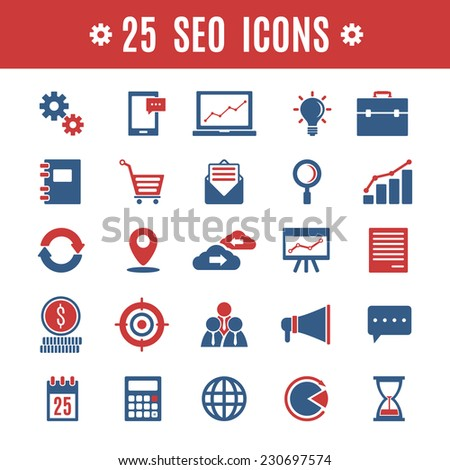 25 seo icons - stock vector