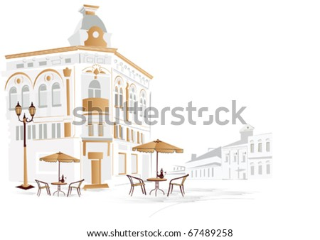 А series of street cafes - stock vector
