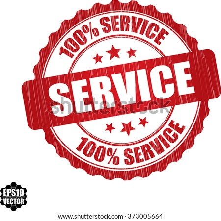 100% service grunge rubber stamp, vector illustration - stock vector