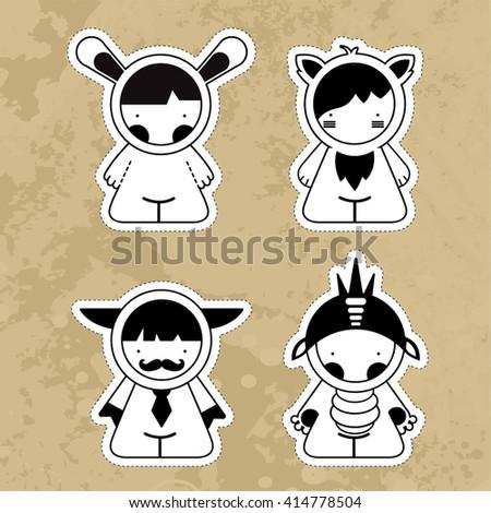 Set cartoon cute monsters. Vector. EPS10 - stock vector