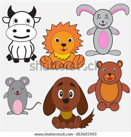 set , dog, cow, lion , hare mouse bear  vector