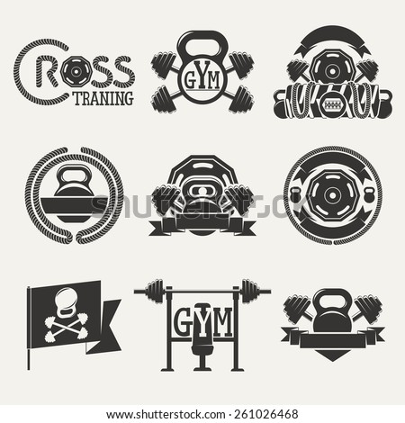 Set logos consisting of dumbbells, barbells and a rope. Cross fitness and gym .Vector illustration. - stock vector