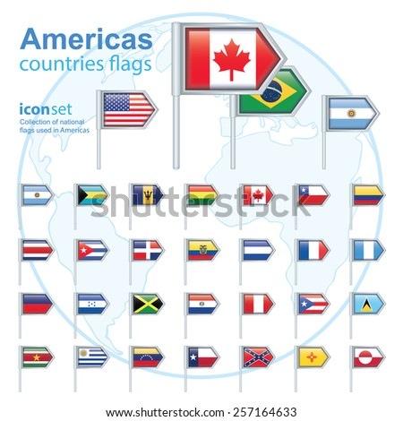 set of Americas flags, vector illustration