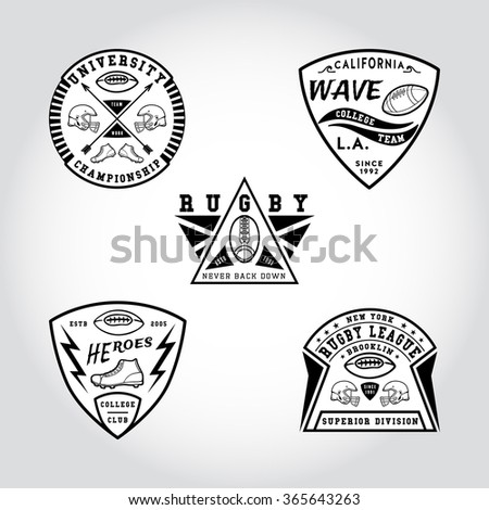 91 SET OF BADGE RUGBY. Handmade football ball, shoes, helmet retro style. Design fashion apparel texture print. T shirt graphic vintage grunge vector illustration badge label logo template.