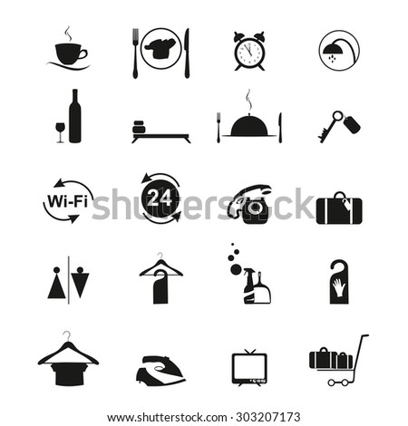 Set of black and white  hotel icons. Black Hotel icons set. Hotel signs isolated on white background. Vector Hotel icons set. Black service icons set.