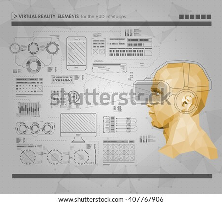 Set Black White Infographic Elements Headup Stock Vector 407767906 ...